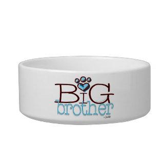 Big Brother Boy Cat Blue Paw Print Pet Food Bowls