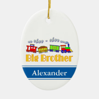 Big Brother Choo Choo Train Double-Sided Oval Ceramic Christmas Ornament