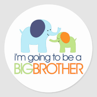 Big Brother Elephant T-shirt Classic Round Sticker