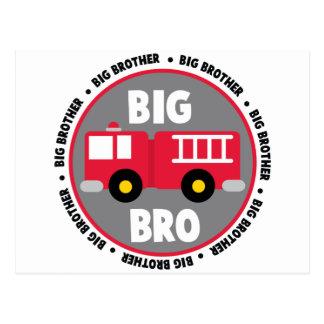 Big Brother Fire Truck Postcard