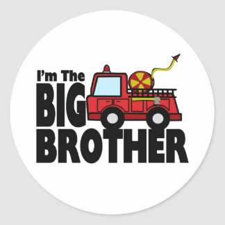 Big Brother Fire Truck Round Stickers