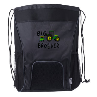 Big Brother Gift for Tractor Loving Boys Kids Drawstring Backpack