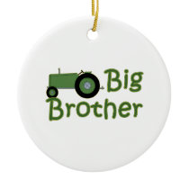 Big Brother Green Tractor Ceramic Ornament