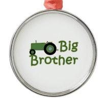 Big Brother Green Tractor Metal Ornament