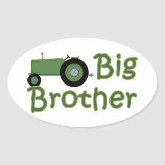 Big Brother Green Tractor Oval Sticker