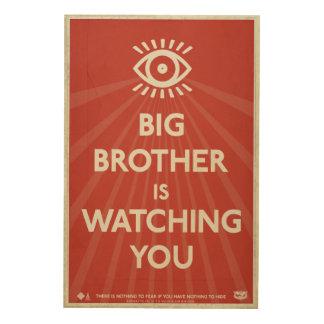 Big Brother is Watching You Propaganda Wood Print