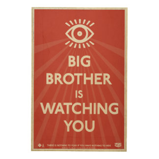 Big Brother is Watching You Propaganda Wood Prints
