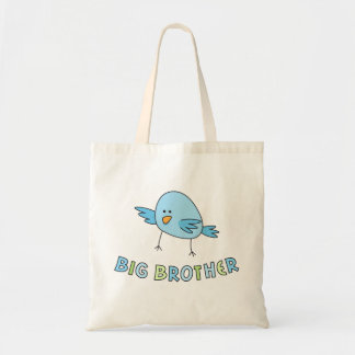 Big brother kids tote bag, funny cute cartoon bird