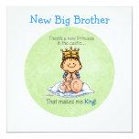 Big Brother - King of Princess 5.25x5.25 Square Paper Invitation Card