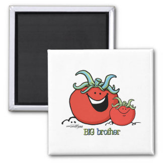 Big Brother - little sibling - Tomato 2 Inch Square Magnet