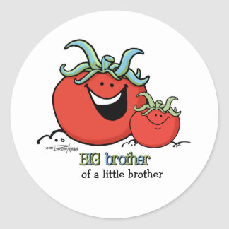 Big Brother - little sibling - Tomato Classic Round Sticker