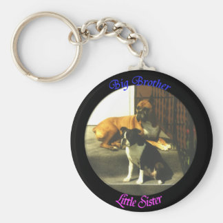 Big Brother Little Sister Basic Round Button Keychain