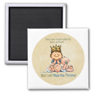 Big Brother of Twins 2 Inch Square Magnet