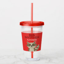 Big Brother or Little Brother Raccoon Personalized Acrylic Tumbler