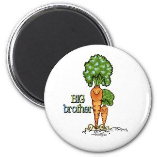 Big Brother  - orange Carrot Veggie 2 Inch Round Magnet