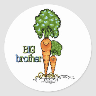 Big Brother  - orange Carrot Veggie Classic Round Sticker