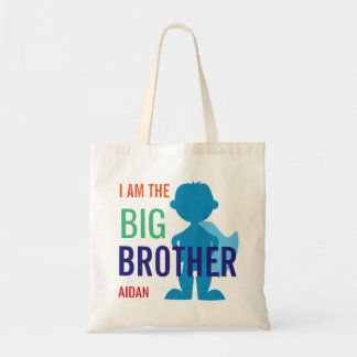 Big Brother Personalized Superhero Silhouette Boys Tote Bag