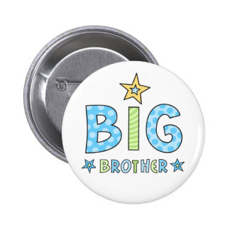 Big brother pin back button with stars