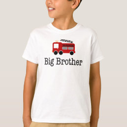 Big Brother Red Fire Truck T-Shirt