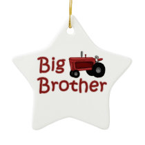 Big Brother Red Tractor Ceramic Ornament