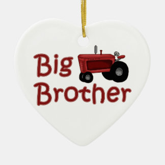 Big Brother Red Tractor Double-Sided Heart Ceramic Christmas Ornament