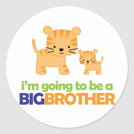 Big Brother Tiger T-shirt Pregnancy Announcement Classic Round Sticker