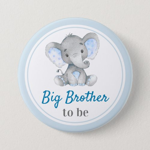 Big Brother to be Baby Boy Shower Elephant Blue Button