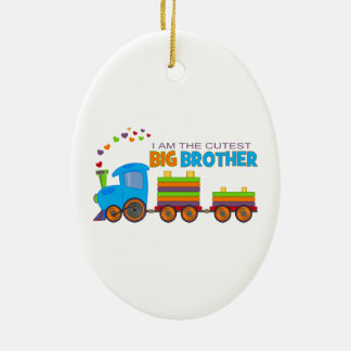 Big Brother -Train Double-Sided Oval Ceramic Christmas Ornament