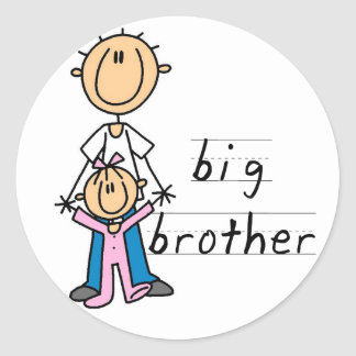 Big Brother with Baby Sister Tshirts and Gifts Classic Round Sticker