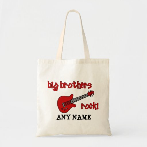 Big Brothers Rock! with guitar Budget Tote Bag