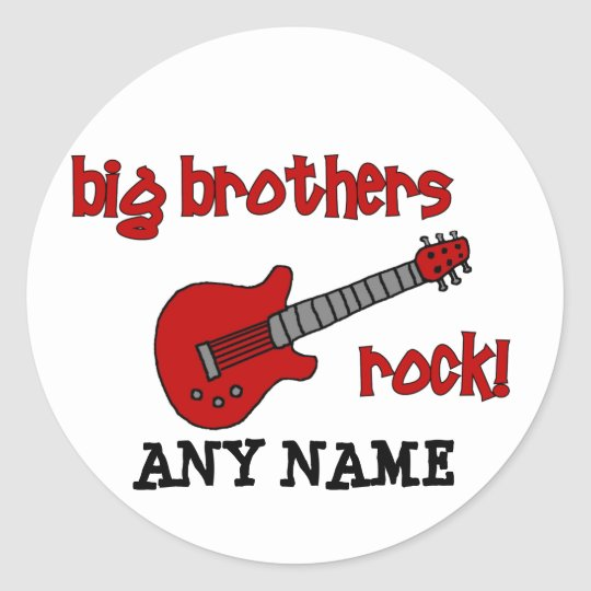 Big Brothers Rock! with guitar Classic Round Sticker