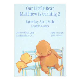 Big Brown Bear and Yellow Bear Birthday Card