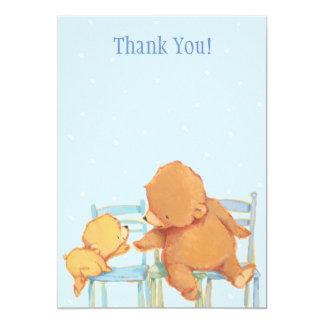 "Big Brown Bear and Yellow Bear Thank You 5"" X 7"" Invitation Card"