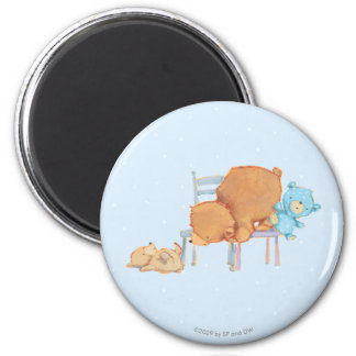 Big Brown Bear, Calico, & Floppy Share Two Chairs 2 Inch Round Magnet