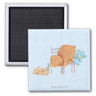 Big Brown Bear, Calico, & Floppy Share Two Chairs 2 Inch Square Magnet
