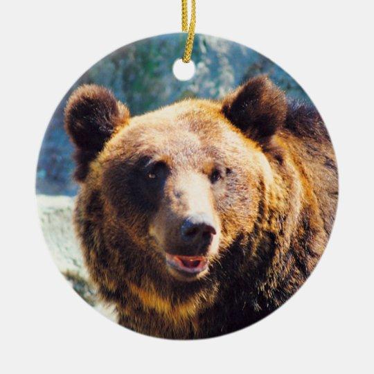 Big Brown Bear Ceramic Ornament