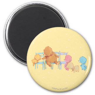 Big Brown Bear & Friends Share Four Chairs 2 Inch Round Magnet