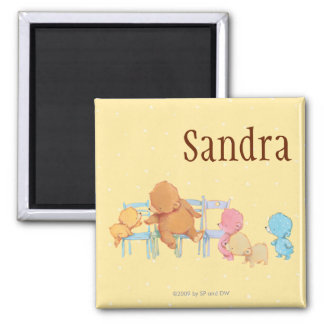Big Brown Bear & Friends Share Four Chairs 2 Inch Square Magnet