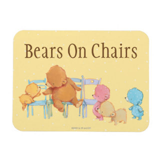 Big Brown Bear & Friends Share Four Chairs Rectangular Photo Magnet