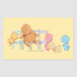 Big Brown Bear & Friends Share Four Chairs Rectangular Sticker