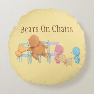 Big Brown Bear & Friends Share Four Chairs Round Pillow