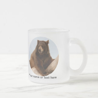 Big Brown Bear Frosted Glass Coffee Mug