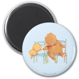 Big Brown Bear Helps Little Yellow Bear 2 Inch Round Magnet
