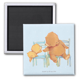 Big Brown Bear Helps Little Yellow Bear 2 Inch Square Magnet