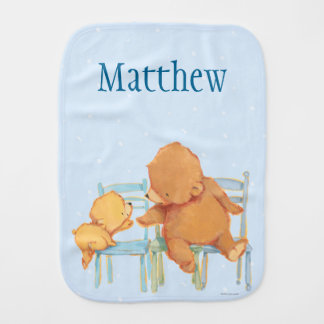Big Brown Bear Helps Little Yellow Bear Baby Burp Cloth