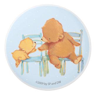 Big Brown Bear Helps Little Yellow Bear Ceramic Knob
