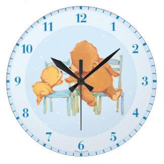 Big Brown Bear Helps Little Yellow Bear Large Clock