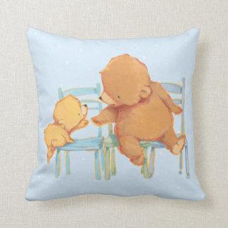 Big Brown Bear Helps Little Yellow Bear Throw Pillow