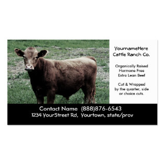 Big Brown Cow - Beef Farming or Ranching Card Double-Sided Standard Business Cards (Pack Of 100)