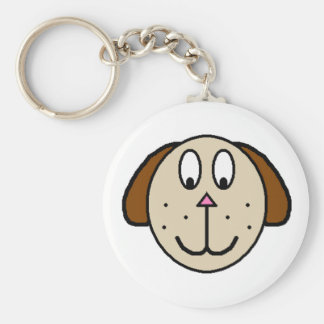 Big Brown Dog cartoon drawing Keychain